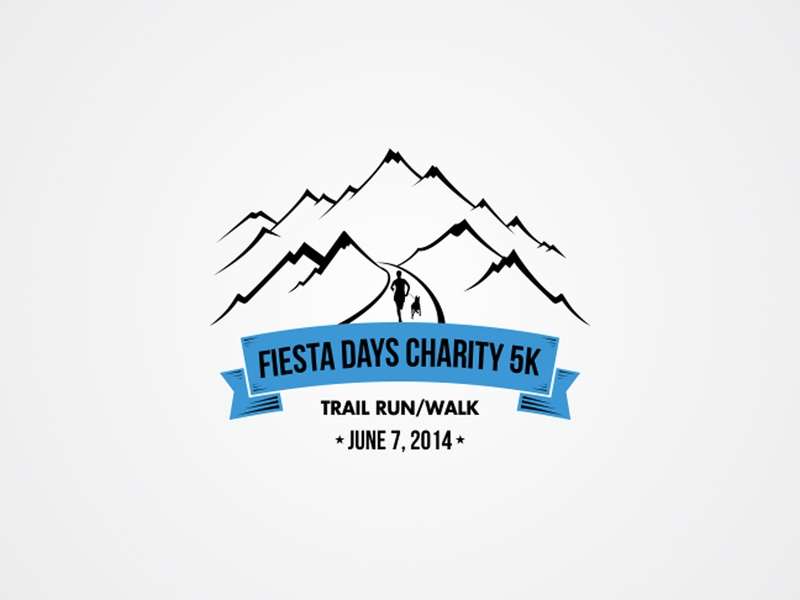 Fiesta Days Charity 5K Trail Run Walk   June 7  2014 illustration logo simple clean flat monogram charity trail contests 99design