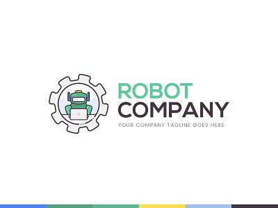 Robot and Ai Community and Social Media Platform Logo Concept branding clean flat simple colorful robotics geek socialmedia 99designs concept logo artificial intelligence robot