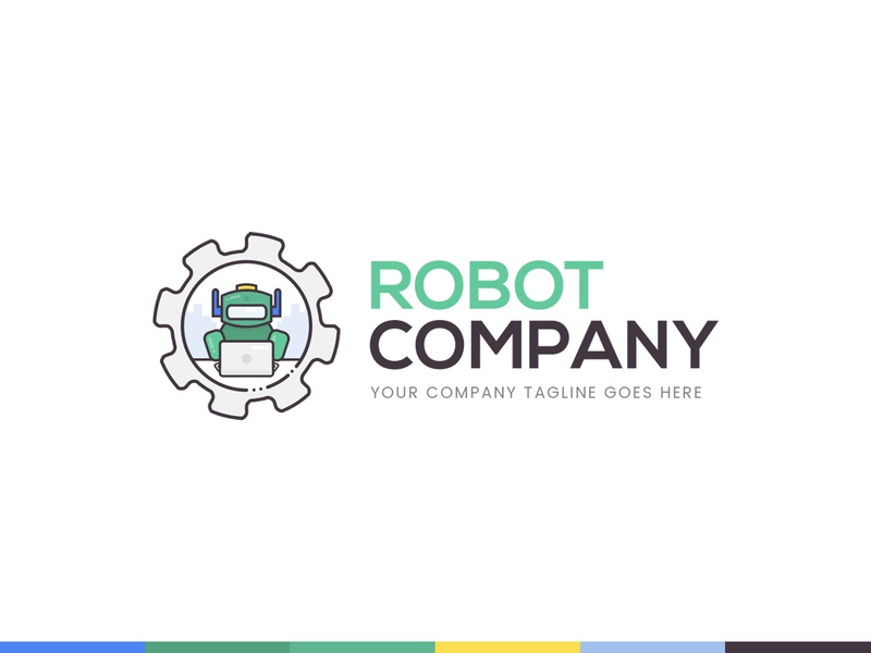 Robot and Ai Community and Social Media Platform Logo Concept branding clean flat simple colorful robotics geek socialmedia 99designs concept logo artificial intelligence robot