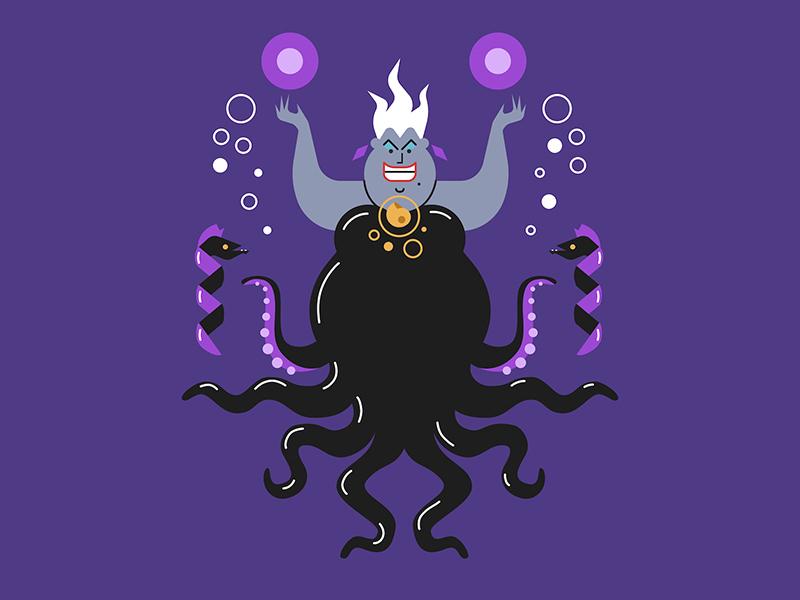Ursula 🐙 disney villain villain magic witch sea witch disney little mermaid ursula design vector doodle art illustration