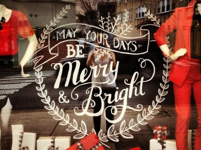 Merry & Bright IRL lettering hand-drawn type holiday wreath sketch retail