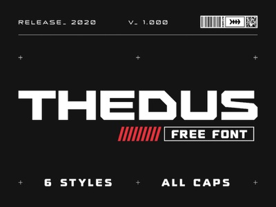 Thedus - Free Sci-Fi Display Font bold tech interface futuristic future industrial branding ui sans serif free typeface display font typeface freebie free font free