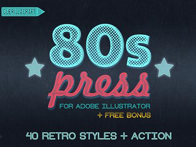 80's Press - Illustrator Freebie vintage textures retro graphic styles actions illustrator free freebie