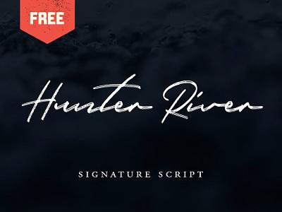Hunter River - Free Signature Script type hand lettering hand drawn branding logo typeface font signature script freebie free font free
