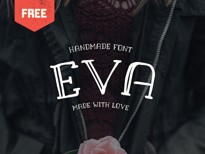 Eva - Free Handmade Font rustic display hand drawn typeface type free font freebie free