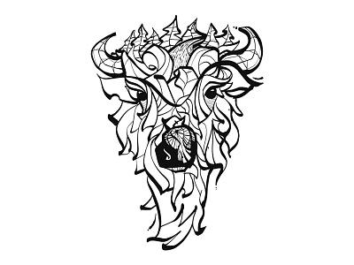 Colouring Book industrial wolf bison colouring book digital illustration brush ink illustration