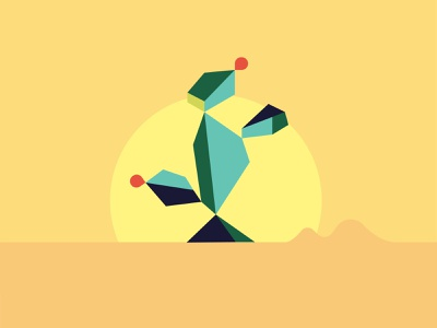 Geo Illo 02 illustration digital illustration geometric geometry desert cactus sun sunset fruit hot mexico arizona abstract plants dry