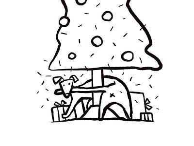 Christmas Pooch present christmas tree christmas boops cute dog illustration brush digital illustration animal illustration dog