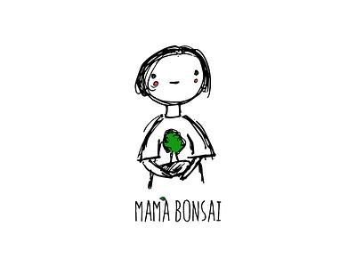 Mama Bonsai smiling character hand made nature tree doodle hand drawn cute beaded tree bonsai mom mama