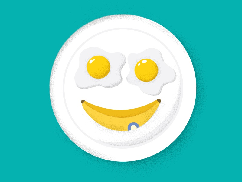 Breakfast breakfast illustration smiley eggs banana plate fun funny kids children