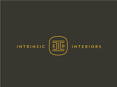 Intrinsic Interiors mark intrinsic interior d i monogram lettering design logo branding