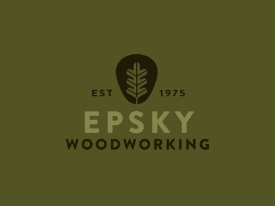 Epsky Woodworking thick forest logo leaf wood branding brand mark icon