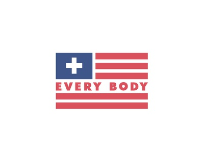 Universal Healthcare For All cross poster outline flag healthcare health body