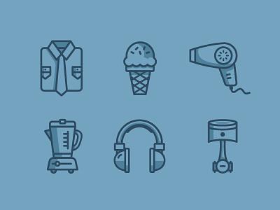 Ecommerce Icons electronics food illustration tie shirt hair dryer ice cream piston headphones blender icons ecommerce