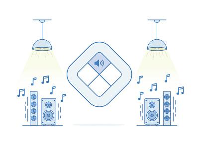 Remote Illustration icon illustration volume music light speakers remote