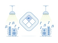 Remote Illustration icon illustration volume music light speakers remote