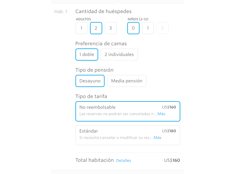 Room preferences form ui booking reservation hotel buttons form