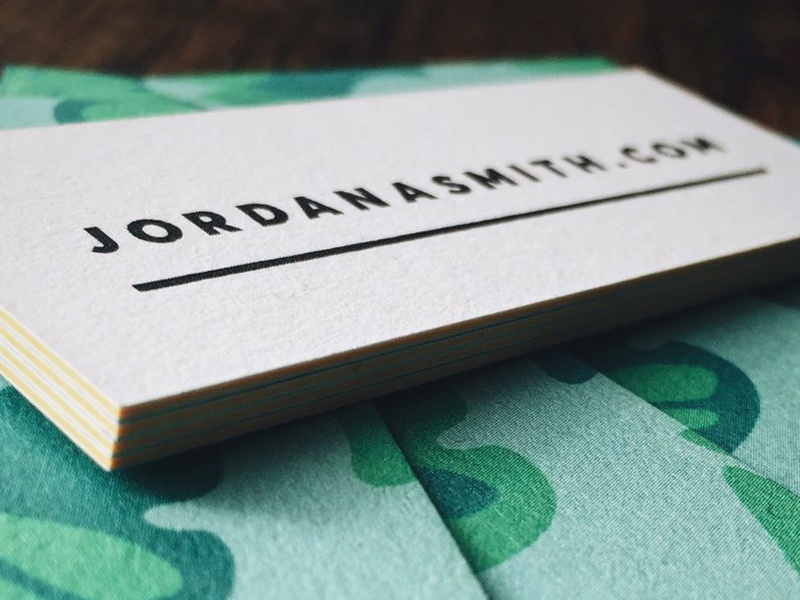 Jordan A. Smith Business Cards edging url design simple brand moo.com business cards