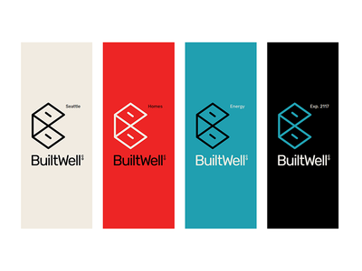 BuiltWell Co single-stroke illustrator contracting energy company seattle homes builtwell box b logo