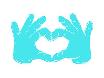 Hands heart hands apple pencil ipad procreate illustration