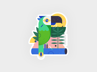 Brazilian parrot in the jungle bresil vector shapes texture geometric plant plants jungle parrots parrot brazil