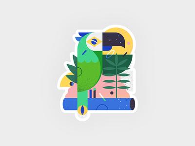 Brazilian parrot in the jungle