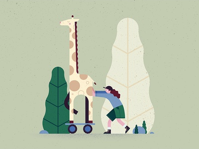 Giraffe trees vegetal people animal shapes grain texture geometric illustration giraffe