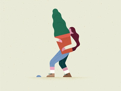 Carrying a tree people texture grain geometric tree illustration