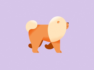 Dog chowchow geometric animal grain texture vector illustration dog