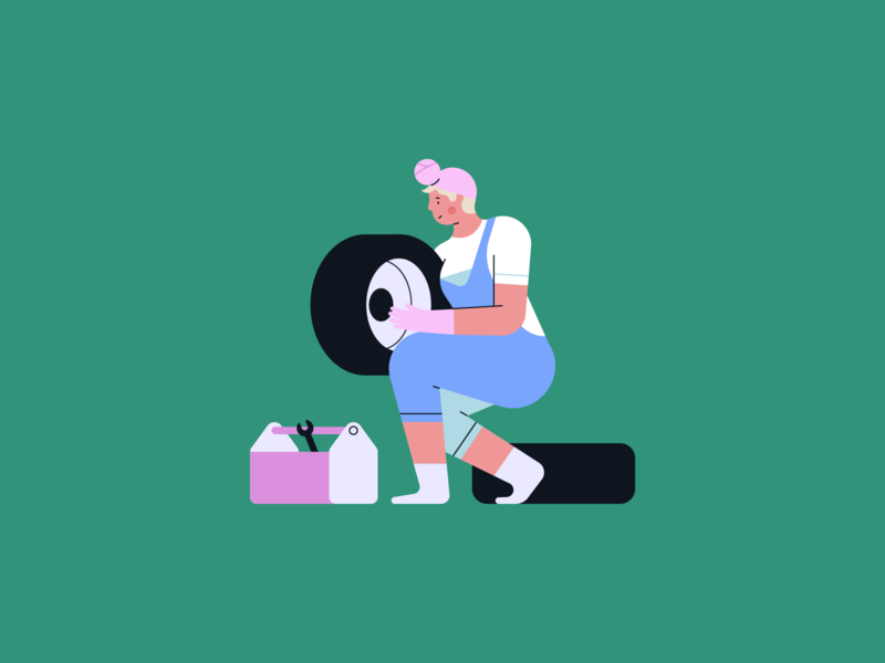 GIRLS CAN...BE MECANICS, NURSES AND OLYMPIC CHAMPIONS characterillustration athlete sport champion olympic mecanic nurse mecanics tire tires newborn baby character shapes people minimal colors vector geometric illustration