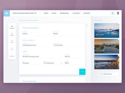 RFP Creator WIP ux material design progress creator agenda search web venue dashboard timeline form ui