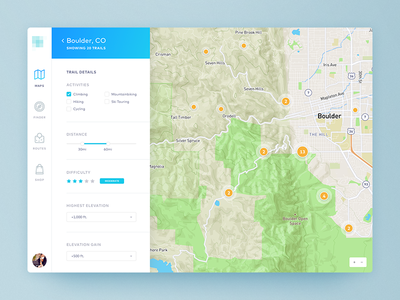 Trail Finder outdoors climbing hiking marker locations interface filters map web app app web ui