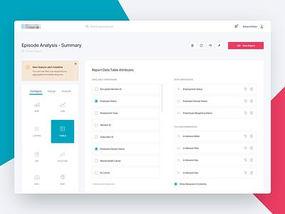 Report Design Builder sort configure web app form builder ui table list light dashboard application app