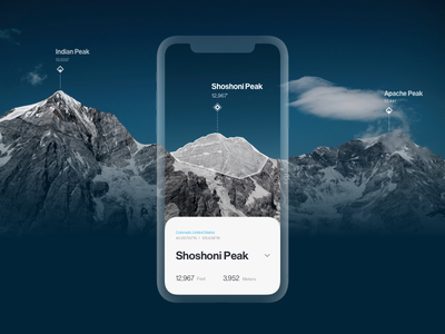 Peak Finder identification climbing hiking augmented reality ar camera mountain location mobile ios app outdoors map