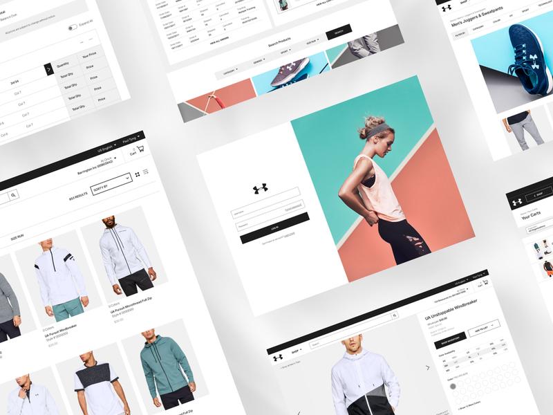UA web ui table store shop product orders minimal login list grid ecommerce details page clean checkout