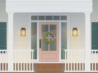 Welcome southern fence shutters window wreath welcome porch light vector illustration door