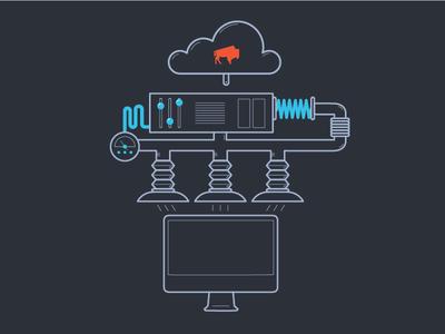 Multi Upload illustration technology financial tech machine multi upload upload bison