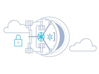 Data Vault financial tech cloud security security illustration vault data bison