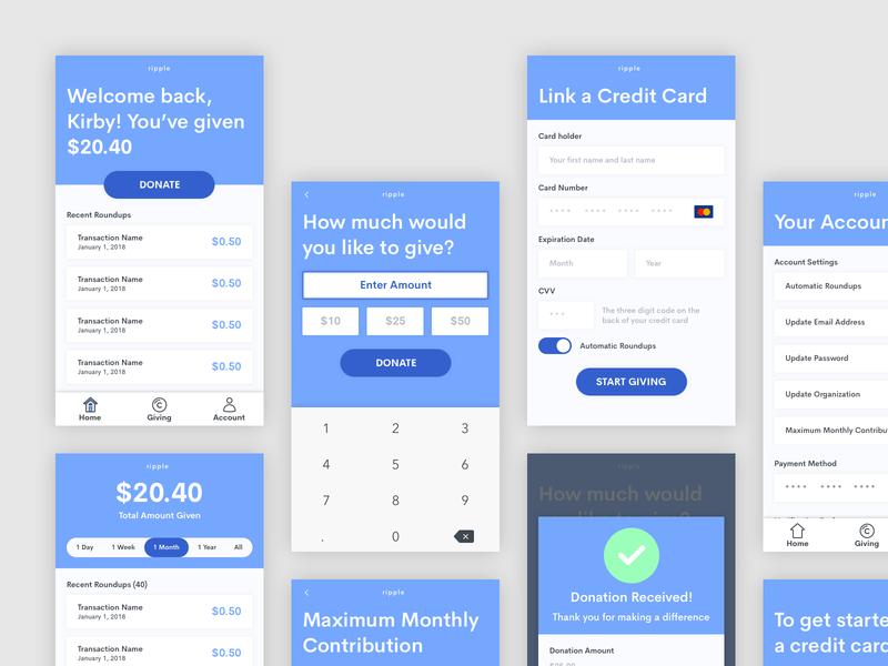 Donation Roundup App app payment finance finance app mobile app design donation mobile