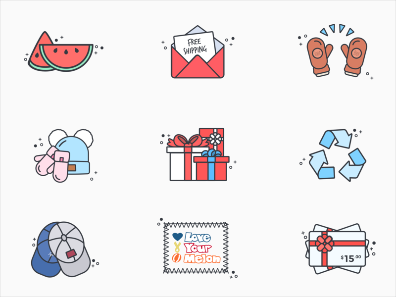 Cyber Monday Love Your Melon Icons black friday cyber monday holiday logo design illustration icon
