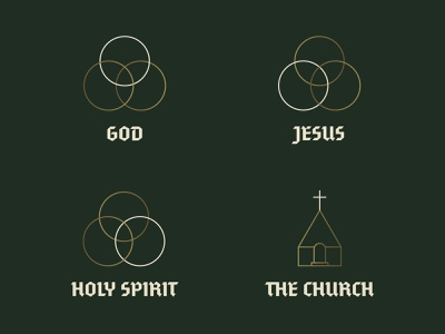 Creed - Series Icons - 1 cross church geometric trinity line art icons apostles creed