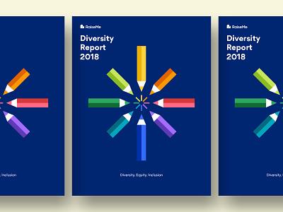 Diversity Report diversity colored pencils pencil burst color wheel rainbow cover illustration