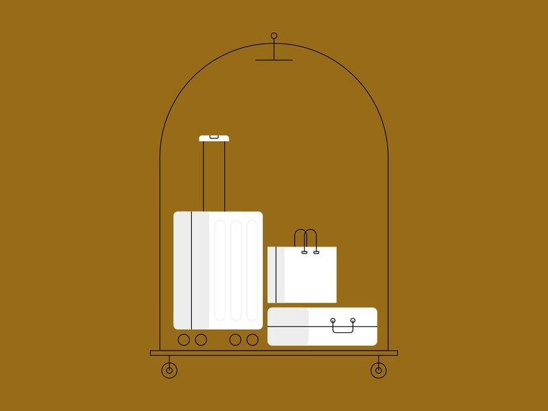Luggage Cart cart luggage line art illustration