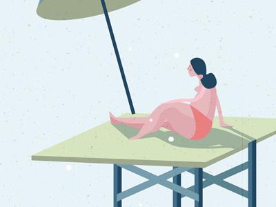 Sunbather illustration vector texture drawing sun woman illustrator