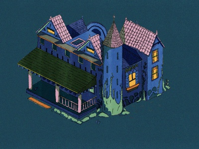 Haunted House pen and ink isometric illustration isometric halloween party halloween haunted mansion haunted house sketching sketchbook drawing texture illustration