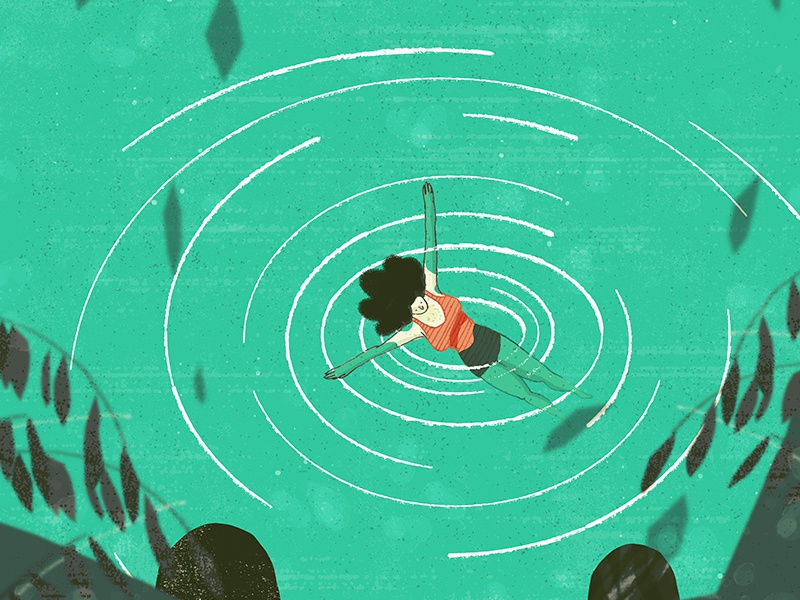 Floating illustration ocean drawing texture illustrator photoshop