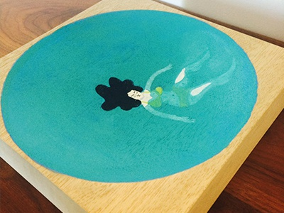 Floating in a bowl illustration painting paint water blue product bowl wood