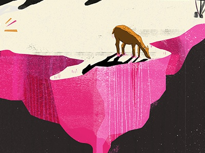 Grazing  pink texture illustration animal art pdx portland dwp dwpdx