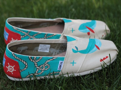 Toms shoes toms hand painted whale illustration nautical painting ropes