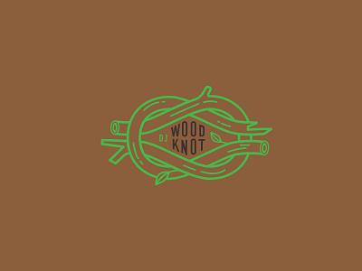 DJ WoodKnot knot twin peaks brown green branches tree logo